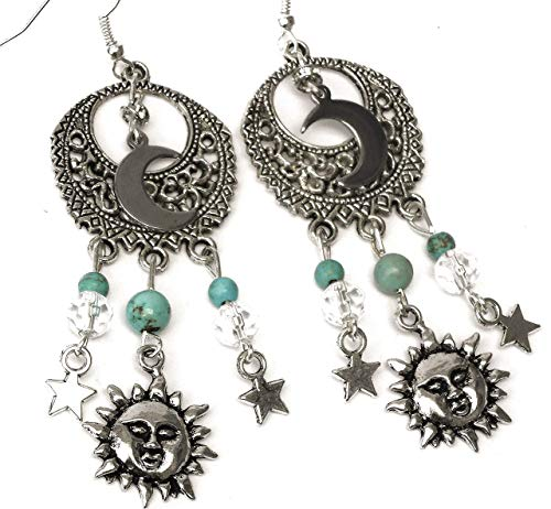 - Sterling Silver Earwire Sun Moon Stars Chandelier Dangle Earrings Celestial Boho Bohemian Jewelry for Women