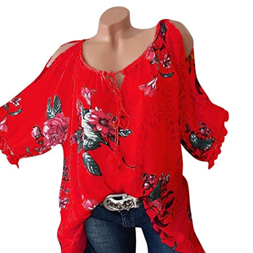 Floral Print Shirt Women Plus Size Blouse O Neck T Shirt Bandage Strapless Top SanCanSn Fashion Blouse Pullover (Red,5XL)