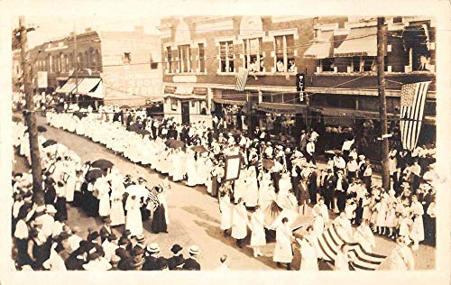 Suffragette Parade Patriotic Street Scene Real Photo Antique Postcard K99779