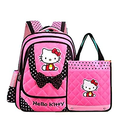 84e793cc3c8c DI GRAZIA Cartoon Hello Kitty Polyester Pink and Black Backpack and Lunch  Bag