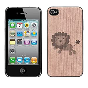 - / Happy Lion Plush Toy Animal - - Funda Delgada Cubierta Case Cover de Madera / FOR Apple iPhone 4 4S 4G / Jordan Colourful Shop/
