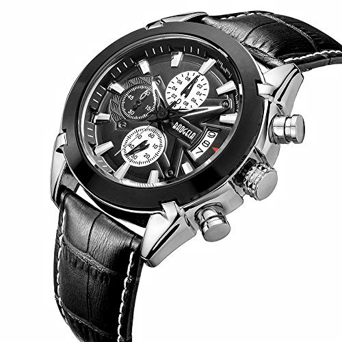 Sports Mens Chronograph with Black Leather Strap Military Analog Quartz Wrist Watch Waterproof Auto Date BAOGELA Brand -