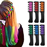 Hair Chalk Comb,MSDADA Disposable Temporary Bright Hair Dye Hair Color Brush for All Hair Colors, for Kids,Girls,Party and Cosplay DIY,Mini (6color)