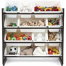 Unbranded* Kids Toy Storage Organizer with 12 Plastic Bins, Espresso/White