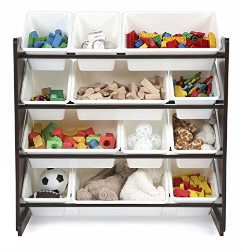 Tot Tutors Kids' Toy Storage Organizer with 12 Plastic Bins, Espresso/White (Espresso Collection)