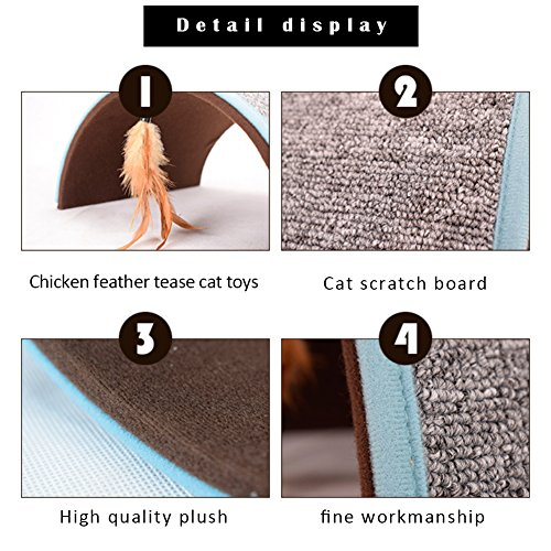 Midsummer Carpet Arch Cat Scratch Board Pet Tunnel House Tent Cat Litter Beds Multifunctional Dog House and Pet Toys,Collapsible,Often used in homes, outdoors, courtyards, parks and during journey by Midsummer (Image #6)