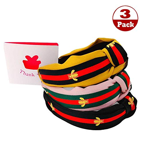(Bee Animal Headband - Ladies red and Green Striped Hair Band, Bohemian Wind Bow Cross Knotted Hair Band, 3Pcs Black Yellow Pink)
