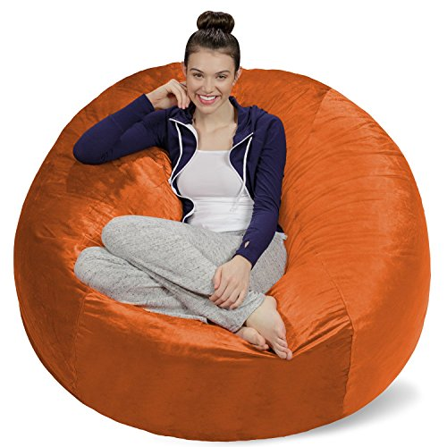 Sofa Sack - Plush Ultra Soft Bean Bags Chairs for Kids, Teens, Adults - Memory Foam Beanless Bag Chair with Microsuede Cover - Foam Filled Furniture for Dorm Room - Tangerine 5' (Orange Bean Chair Bag)