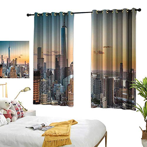 Warm Family Insulated Sunshade Curtain Cityscape Decorations Collection New York City Skyline NY Windows Opening to Manhattan Colorful Waterproof Noise Reducing 63