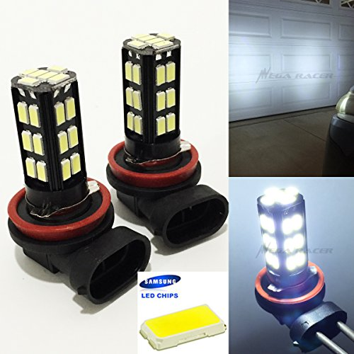 Crystal Hyper White Bulbs - Mega Racer H11 (Fog Light) Bright Chip LED 30-SMD Canbus Hyper Cool White 6000K Headlight Bulb 12V Stock OEM Xenon Lamp