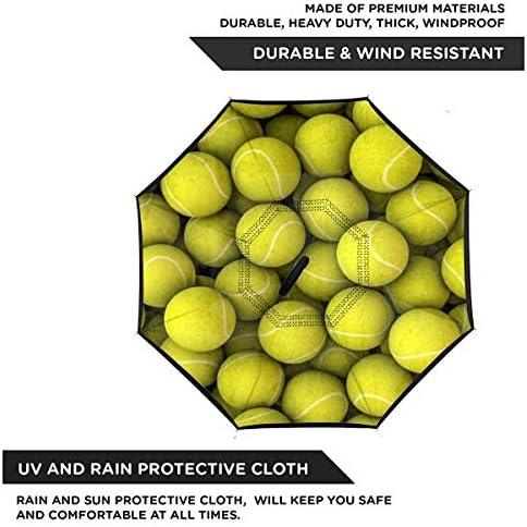 おかしいスポーツ装飾テニスボール ユニセックス二重層防水ストレート傘車逆折りたたみ傘C形ハンドル付き
