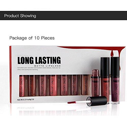 Coosa 10 Wonderful Colors Waterproof Long Lasting Matte Lip Gloss Lipstick Makeup