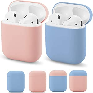 Yodaoo AirPods Case Cover Silicone Protective Skin for Apple Airpod Case 2&1 Wireless Charging Case (2 Pack) (Pink & Coast Blue)