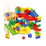 HKF 54 Pieces Crazy Ball Marble Run Set - Marble Run Building Blocks Construction Toys Set Puzzle Race Track for Kids