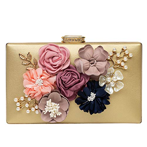 Women's Satin Flower Evening Clutch Bags Pearl Beaded Evening Handbag For Prom Bride Wedding Gold