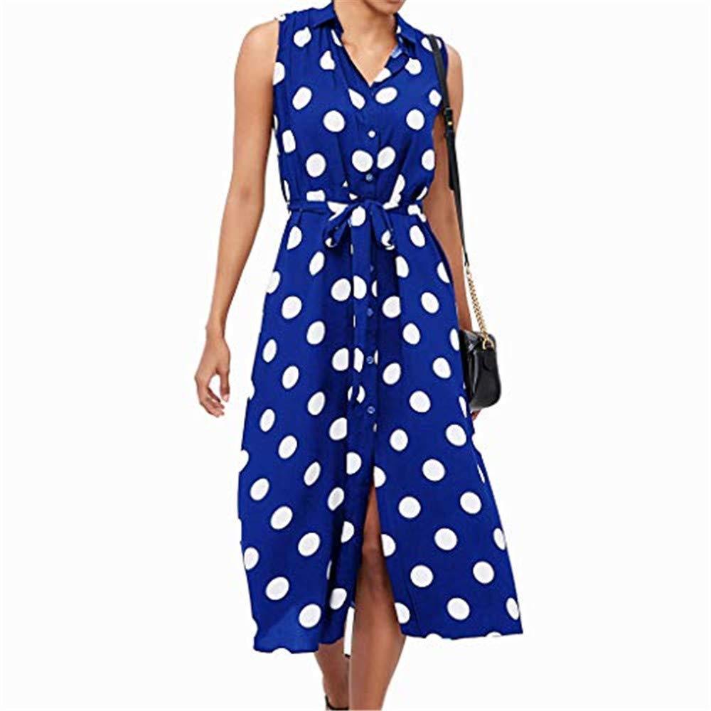 kanyankeji Boho Dress Polka Dot Print V Neck High Waist Belted Sleeveless Dress