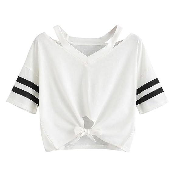 ba941cf29 VECDY Chaleco Blanca para Mujer Camiseta Corta, Manga Corta, Cuello ...