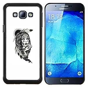 Qstar Arte & diseño plástico duro Fundas Cover Cubre Hard Case Cover para Samsung Galaxy A8 A8000 (Tribal americano nativo Indian Girl)