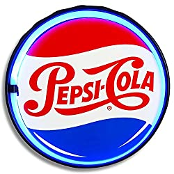 Pepsi-Cola  Bottlecap - Reproduction Vintage Advertising Sign - Battery Powered LED Neon Style Light - 12 Inch Diameter