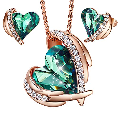 CDE Pink Angel 18K Rose Gold Jewelry Set Women Heart Pendant Necklaces and Stud Earrings Sets Embellished with Crystals from Swarovski Gift for Mothers Day