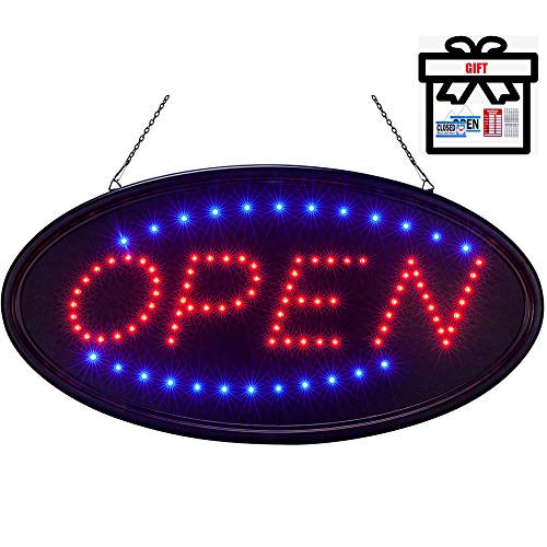 LED Open Sign for Business 18.9 X 9.8 Inch, Two Modes Light Steady Flashing Electronic Lighted Signs Displays for Business, Walls, Glass Window, Shop, Hotel, Bar,Liquor Stores