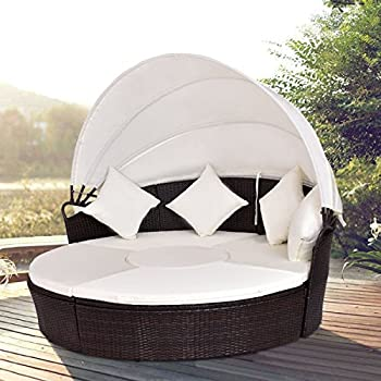 Tangkula Round Patio Bed Wicker Outdoor Cushioned Sofa Daybed with Canopy : patio bed with canopy - memphite.com