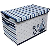 Bacati Little Sailor Storage Toy Chest, Blue