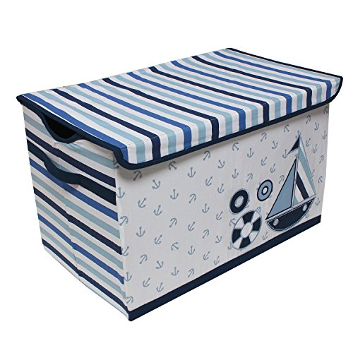 Bacati Little Sailor Storage Toy Chest, Blue 10 Liter Small Animal Bedding