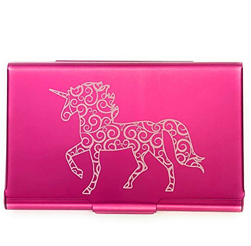House Business Card Case - Wellspring Business Card Holder/Credit Card Case, Pink Unicorn