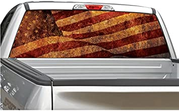 American Flag Distressed Vintage Rear Window Decal Graphic for Truck SUV