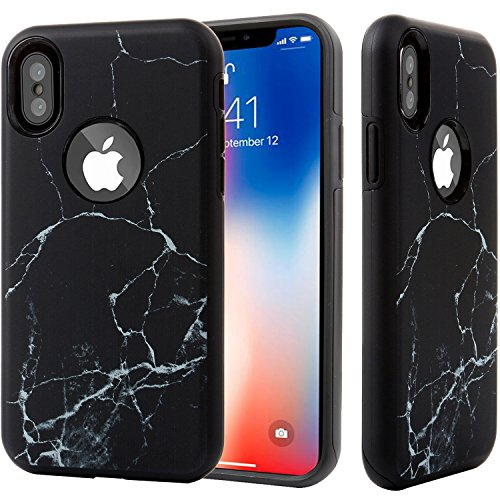 Double Marble - iPhone X Case Black Marble for Men Women Girls,DICHEER Hybrid Heavy Duty Shockproof Anti-Scratch Armor Rugged Dual Layer Hard Cover and Soft TPU Protective Case for iPhone 10