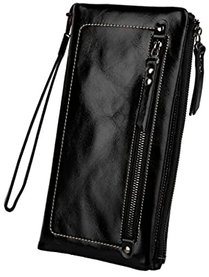 YALUXE Women's Large Capacity Soft Real Leather Wristlet Wallet Checkbook Passport Holder