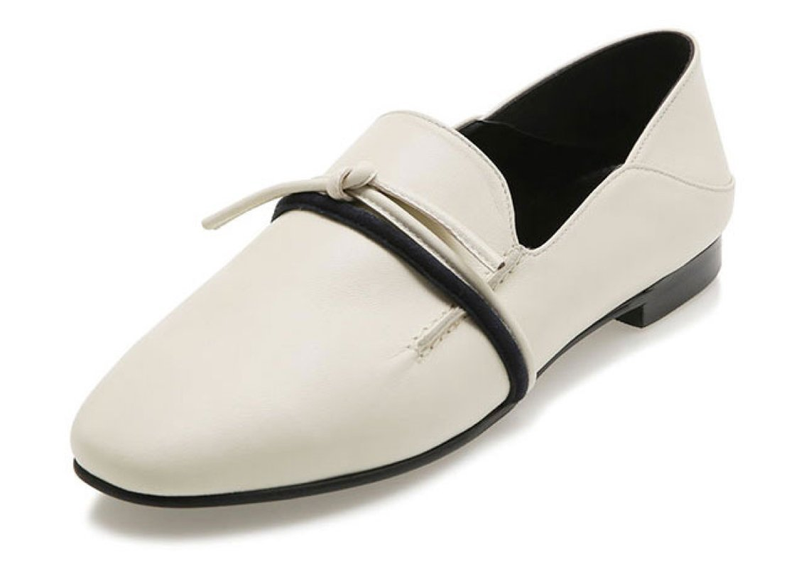 AWESOME DEW Loafer ADS026 Flat Shoes Ivory For Women 6 Ivory