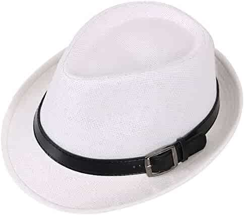 24b47d8fe Hemantal Men & Women's Miami Structured Straw Fedora Hat w/PU Leather Band