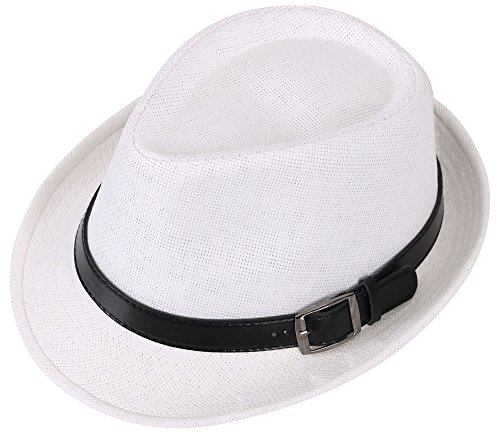 Simplicity Panama Style Fedora Straw Sun Hat with Leather Belt,White LXL ()