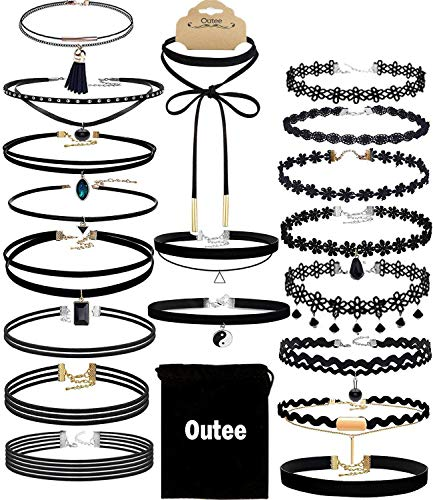 (Choker Set, Outee 20 Pcs Black Choker Necklace Classic Choker Henna Choker Layered Necklaces for Women Girls with Material of Velvet )