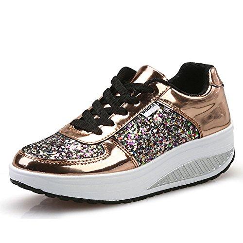 Zapatos casuales de las mujeres, zapatos que sacuden los zapatos del verano de la primavera con lentejuelas Zapatos de la sacudida de las mujeres Zapatos ocasionales Zapatos casuales de las señoras Zapatos de la sacudida de la aptitud ( Color : Oro