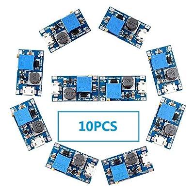 Eiechip MT3608 Mico USB DC Voltage Regulator Step Up Boost Converter Power Supply Module 2V-24V to 5V-28V 2A (Pack of 10): Electronics