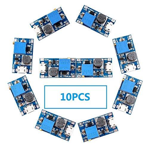- Eiechip MT3608 Mico USB DC Voltage Regulator Step Up Boost Converter Power Supply Module 2V-24V to 5V-28V 2A (Pack of 10)