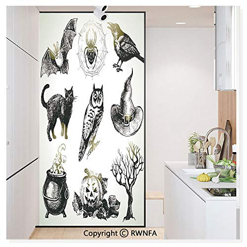 Window Door Sticker Glass Film,Halloween Related Pictures Drawn by Hand Raven Owl Spider Black Cat Anti UV Heat Control Privacy Kitchen Curtains for Glass,30 x 59.8 inch,Black White -