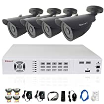 iSmart 8 Channel 960H HDMI DVR Security System Kit including 4pcs 800TVL Bullet Heavy Duty Outdoor Indoor Camera with 42 Leds D5608WH+C1011DP84