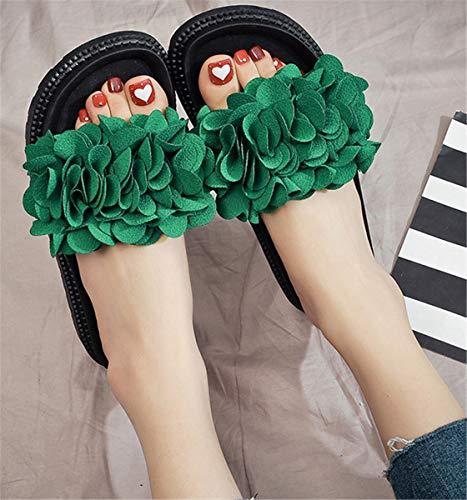 Chaussures Dames Vert Plates 37 Pantoufles Loisirs Plage Fleurs Pantoufles Confortables Femmes Mode Fleurs Sandales de SHENHAI XP6fwq