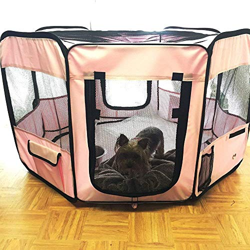 "ToysOpoly #1 Premium Pet Playpen – Large 45"" Indoor/Outdoor Cage. Best Exercise Kennel for Your Dog, Cat, Rabbit, Puppy, Hamster or Guinea Pig. Portable Fabric Pen for Easy Travel (Light Pink) by ToysOpoly (Image #7)"