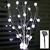 Adsled Solar LED Puffer Ball Tree Branches Lights Snow Chuzzle Lamps Lighting 50cm (White)