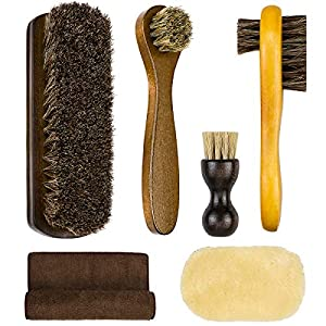 SelfTek 6Pack Shoe Brush Set Horsehair Bristles Brushes with Polish Glove and Buffing Cloth Shoe Shine Polishing Applicators for Leather, Boot,Car Seat Interiors and Cloth Clean