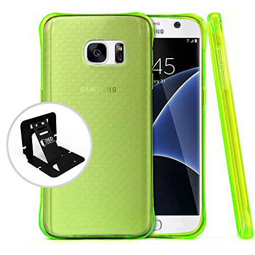 [Samsung Galaxy S7] Case REDshield [Neon Green] Durable Anti-shock Crystal Silicone Protective TPU Gel Skin Case Cover with Travel Wallet Phone Stand
