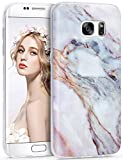 Galaxy S7 Edge Case, Imikoko S7 Edge Marble Case Slim Anti-Scratch Shockproof Cover Matte Finish Flexible Clear Transparent TPU Bumper Soft Case for Samsung S7 Edge(5.5 inch) Turquoise