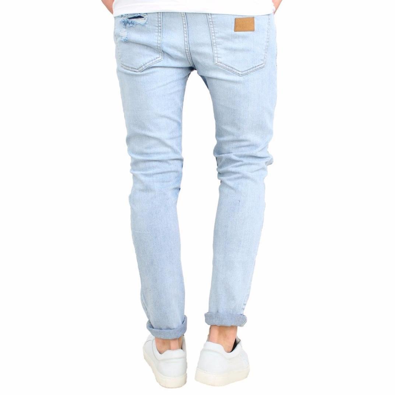 Pantalones Tejanos Rotos Azul Claro Hombre Lhwy Vaqueros Push Up Slim Elastico Jeans Pantalones Largos Denim Para Ciclismo Casuales Hombre Vaqueros