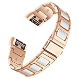 For Fitbit Charge 2 Bands, AISPORTS Fitbit Charge 2 Ceramics Stainless Steel Splicing Design Smart Watch Replacement Band Bracelet Wrist Band for Fitbit Charge 2 Fitness Accessories, Rose Gold/White