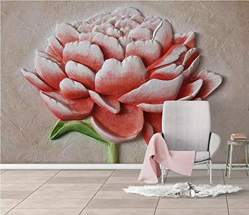 (Photo Wallpaper 3D Three-Dimensional Embossed Red Flower Plate Background Wall Wallpaper Custom Living Room Lobby Studio Mural,270Cm (H) X 350Cm (W))